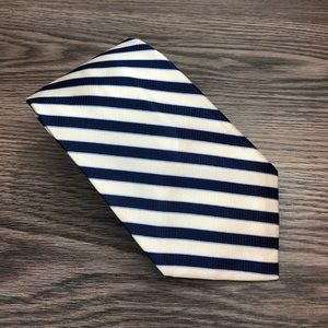 Breuer White, Navy & Blue Stripe Silk Tie